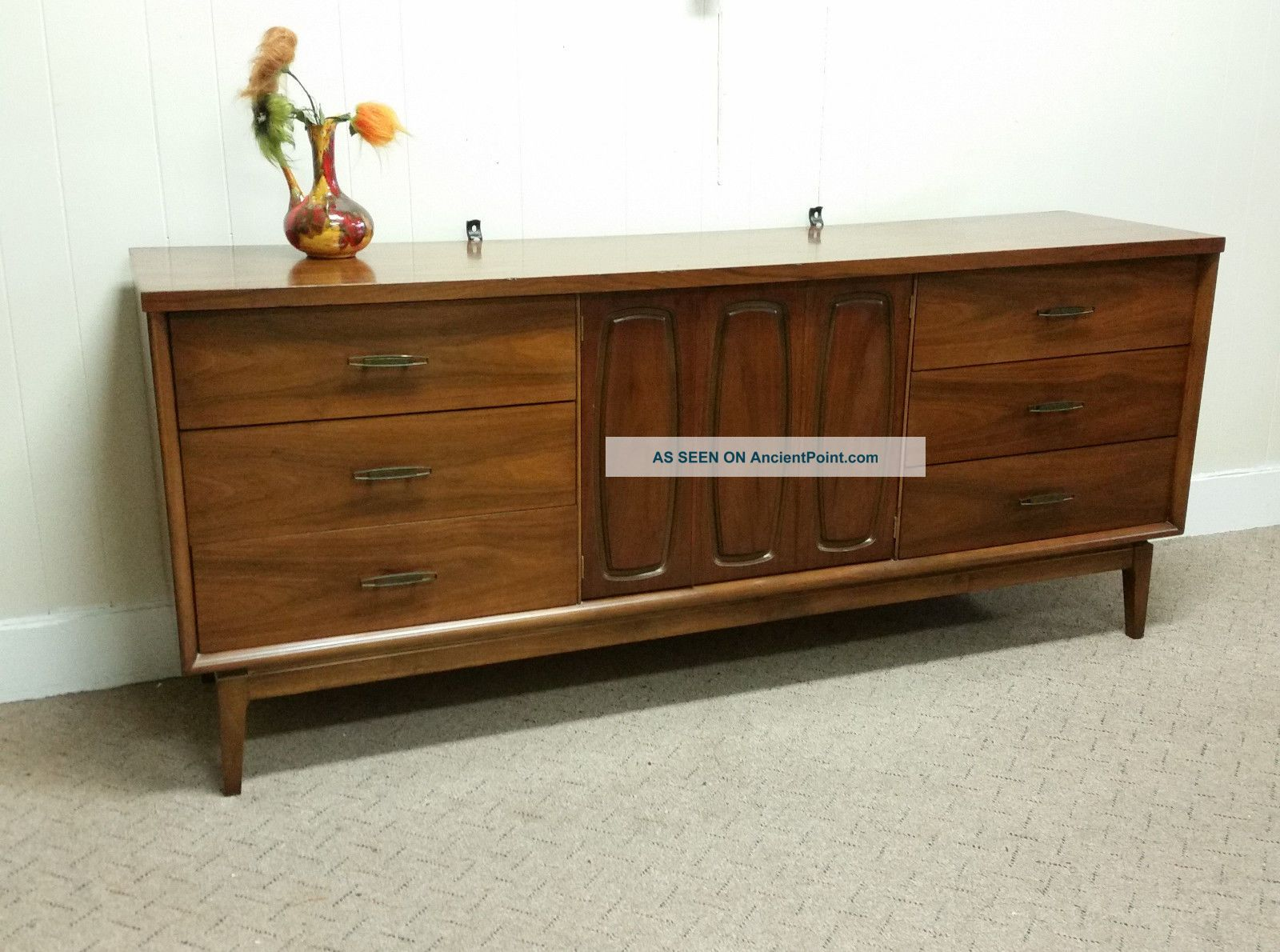 Vintage Mid Century Modern Broyhill Emphasis Walnut Triple Dresser Sideboard Post-1950 photo