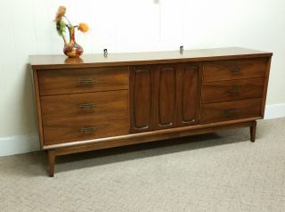 Vintage Mid Century Modern Broyhill Emphasis Walnut Triple Dresser Sideboard photo