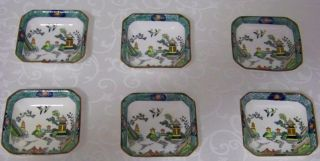 6 Rare Crown Staffordshire Chinese Willow Bone China Condiment - Butter Pats photo