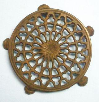 Vtg Iron Trivet.  Ornate Round photo