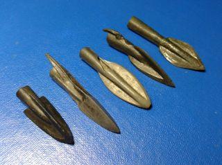 5 Ancient Bronze Arrowheads 43 - 28 Mm. photo