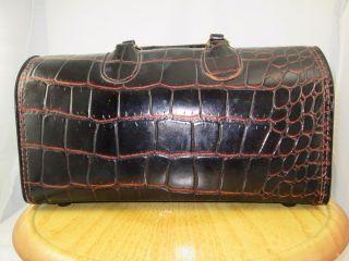 Vtg Brown Leather Doctor Medical Bag Upjohn Top Grain Cowhide Alligator Croc photo