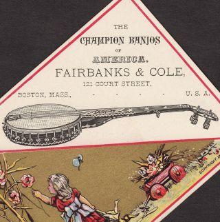 1880 ' S Antique Fairbanks & Cole Banjo Boston American Business Advertising Card photo