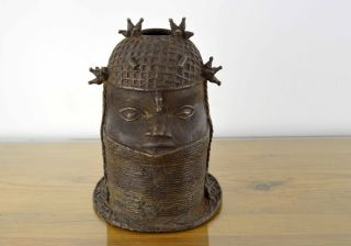 Antique Authentic African Art Tribal Benin Bronze Oba King Head Bust Nigeria photo