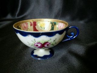Antique Footed Tea Cup Cobalt Blue Roses Gold photo
