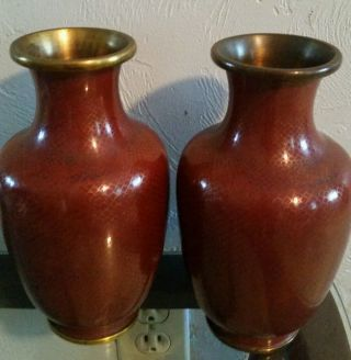 Chinese Brass Cloisonne Vases Pair Early 20c Coral Red Fish Scale 8