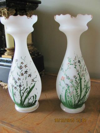 Antique Matched Handpainted Victorian Vases photo