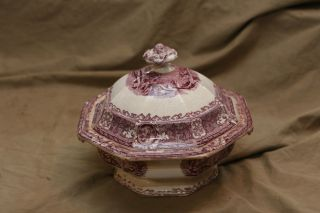 Antique Early To Mid 19th C Purple Mulberry Ironstone Octagonal Tureen Castle photo