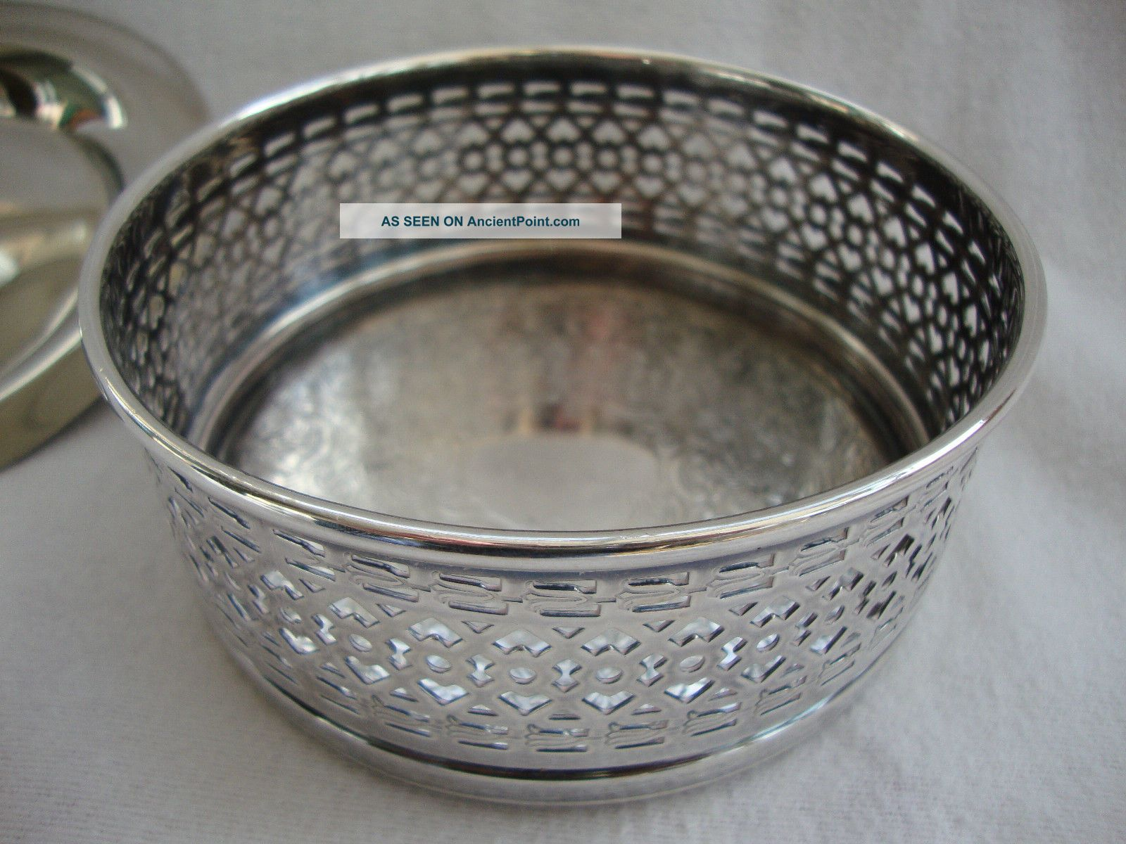 A Strachan Silver Plated Table Wine Bottle Coaster & M&r Silver Plate Nut Dish Dishes & Coasters photo