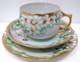 Antique Bavaria Porcelain Tea Cup Saucer Plate Hand Painted White Flower photo