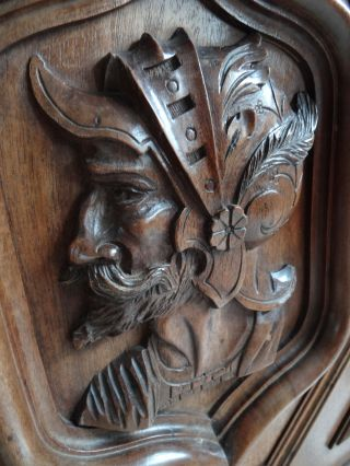 Pair French Hand Carved Wood Walnut Gothic Door Panel /knight Men Profile 19th photo