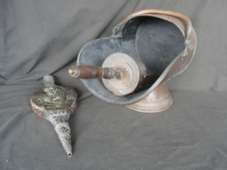 Antique Copper Coal Scuttle,  Scoop W/ Wood Handle And Brass Figural Bellows photo