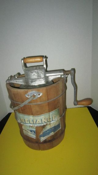 Antique Husqvarna Reliance 4qt Hand - Crank Ice Cream Freezer Maker Made In Sweden photo