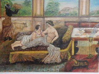Unusual Old Painting Mythical Roman Romance Scene Signed photo