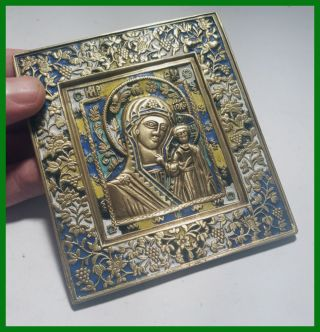 Russia Orthodox Bronze Icon The Virgin Of Kazan.  19th.  Century.  Enameled photo