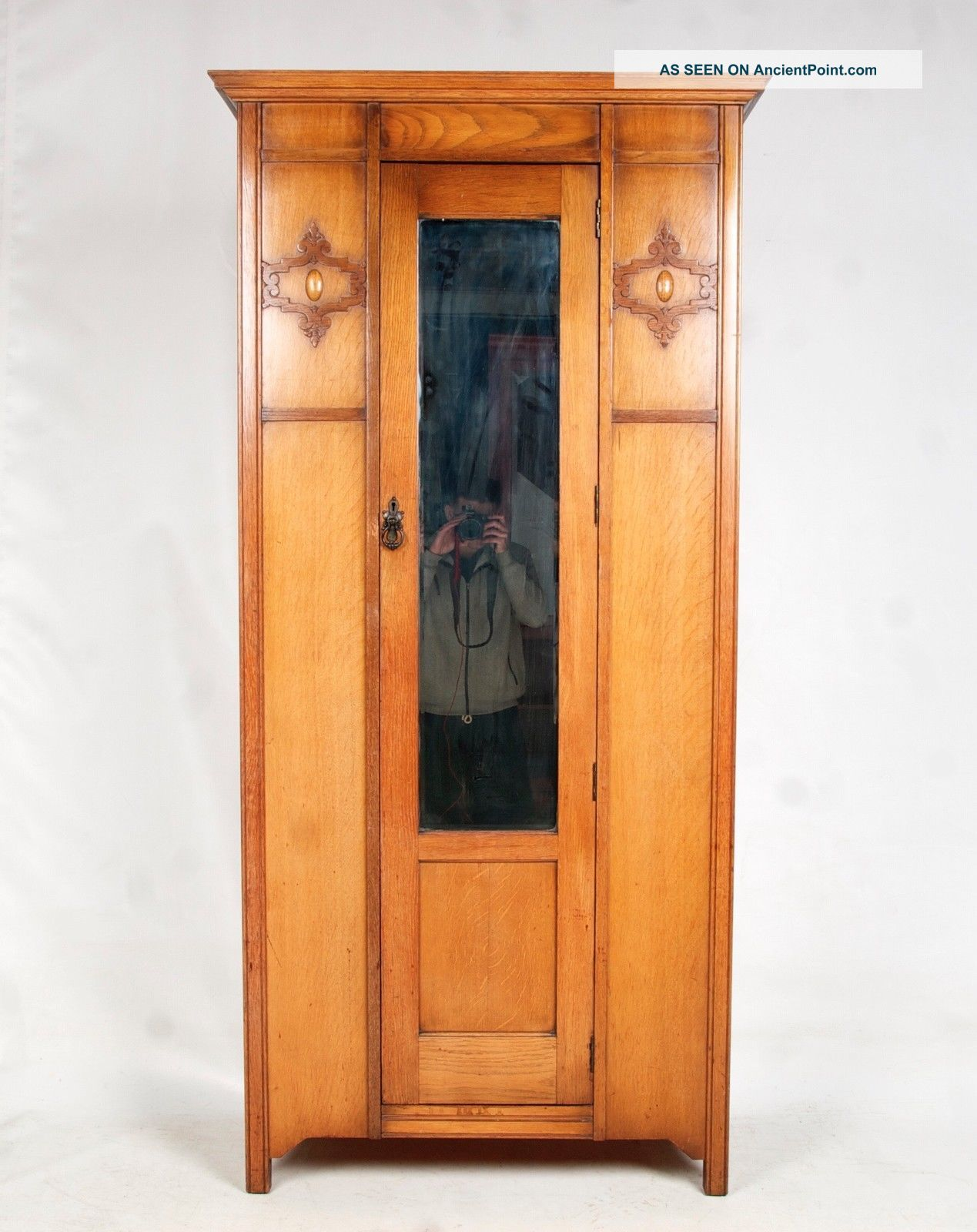Antique Oak Wardrobe Edwardian Mirrored Slim Late 19th Century Arts & Crafts Edwardian (1901-1910) photo