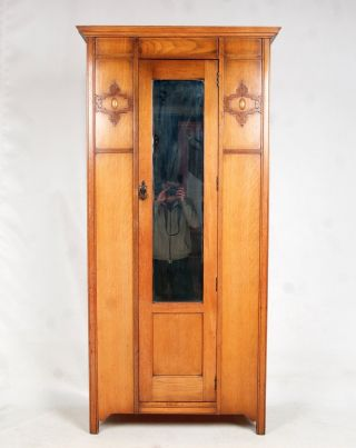 Antique Oak Wardrobe Edwardian Mirrored Slim Late 19th Century Arts & Crafts photo