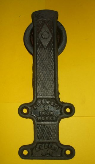 Vintage Swett Iron Barn Door Roller Hanger Medina N.  Y.  - photo
