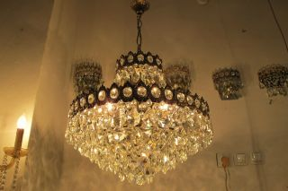 Antique Vnt French Huge Basket Style Crystal Chandelier Lamp 1940 ' S 20in Diametr photo