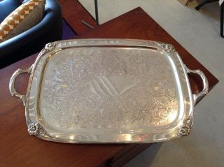 1847 Rogers Bros.  Silverplate Holloware Serving Tray,  Daffodil Pattern,  C.  1950 photo