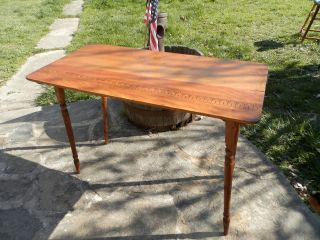 Vtg Antique Folding Pine/oak Yard Measure Sewing Table 36x18x25 photo