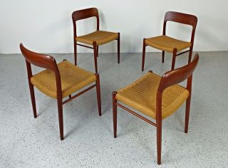 Mid Century Danish Modern Jl Moller Teak 75 Paper Cording Dining Chairs photo