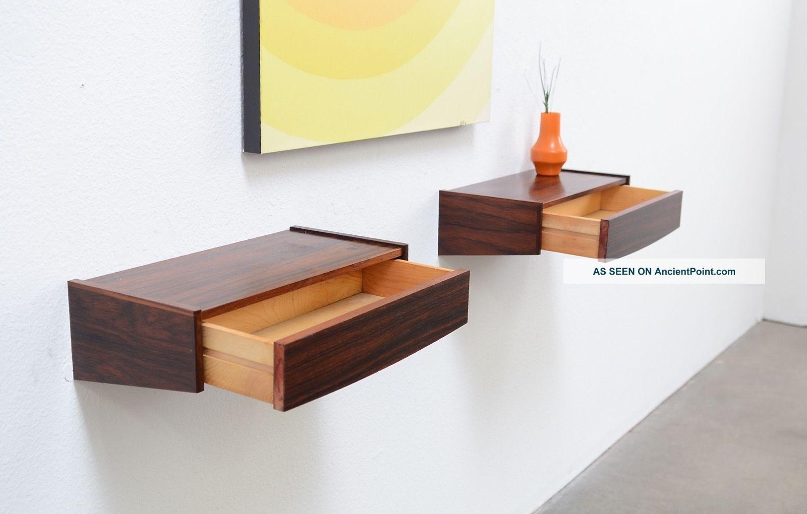 60s Danish Modern Rosewood Floating Nightstand Shelf Tables