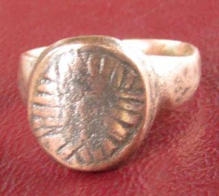 Authentic Ancient Artifact Bronze Finger Ring Sz: 8 Us 18mm 11159 Dr photo