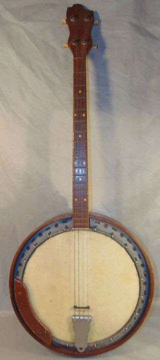 Antique 4 String Plectrum Banjo Wooden Body W/ Metal Tone Ring Unbranded photo