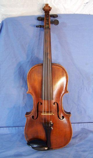 Antique German Hopf Violin C1850 Full Size 4/4 Inlaid Purfling Wcoffin Case photo