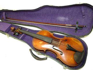 Antique Full Size 4/4 Scale Paolo Maggini Brefcia Copy Violin W/case & Goetz Bow photo