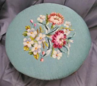 Old Vintage Shabby Round Wood Needlepoint French Provincial Footstool Chic photo