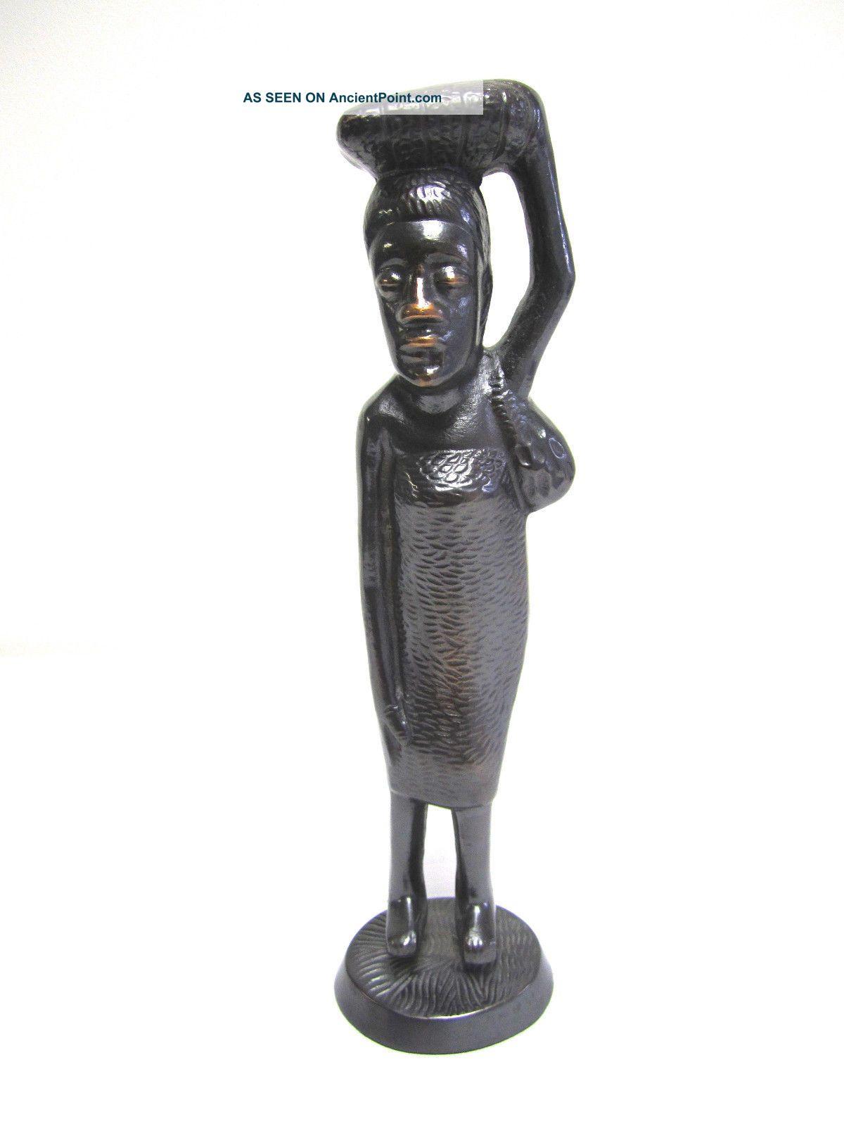 African Primitive Heavy Bronze Like Metal Woman Statue Figurine Sculptures & Statues photo