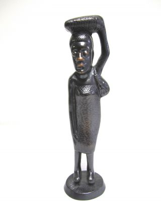 African Primitive Heavy Bronze Like Metal Woman Statue Figurine photo