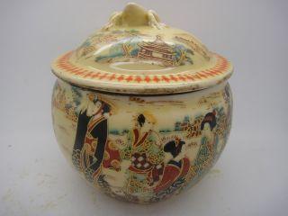 Old China Handmade Porcelain Pot Painting,  Sculpture Maid Pots. photo