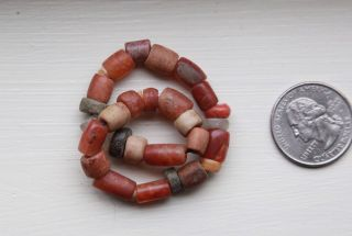 32 Ancient Crystal,  Stone,  Shell & Carnelian Beads Antique Old 14.  5 Gr photo