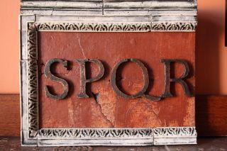 Antique Latin Acronim Spqr Replica Wallmounted Hand Made Plaster Relief photo