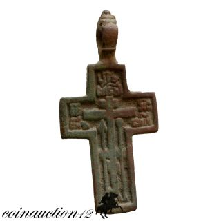 Wearable,  Late Medieval Ae Christian Cross Pendant 1500 Ad photo