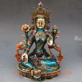 Chinese Hand - Carved Cloisonne Buddhism Statue - - Green Tara Buddha photo