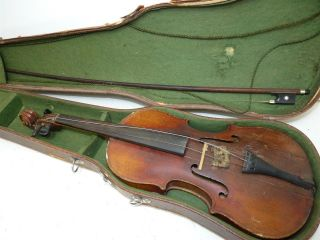 Antique/vintage Full Size 4/4 Scale Stradivarius Model Violin W/ Old Bow & Case photo