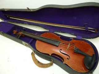 Antique/vintage Full Size 4/4 Scale Stradivarius Model Violin W/old Bow & Case 2 photo