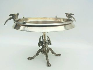 Antique Quadruple Silver Plate Brides Basket Pedestal Tray W/goats & Pheasants photo