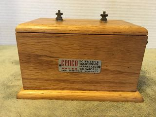Vtg Cenco Science Lab Induction Coil Spark Gap Generator In Wood Case Steam Punk photo