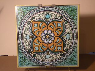 3f108 Large Iznik Style Vintage Pottery Hand Painted Tile 8