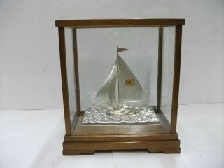 The Sailboat Of Silver950 Of The Most Wonderful Japan.  A Japanese Antique. photo
