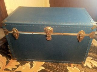 Antique Vintage Steamer Trunk - Sky Blue photo