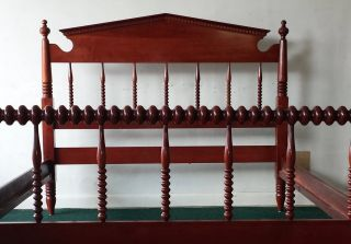 Antique Davis Cabinet Co.  Solid Cherry Full - Size Spindle Bed - Jenny Lind Style photo