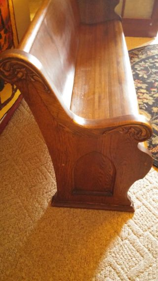 Antique Ornate Carved Golden Oak Tiger Grain Church Pew photo