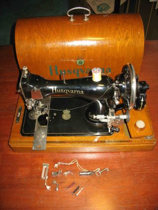 Husqvarna Sewing Machine Antique Hand Crank Highly Collectable photo