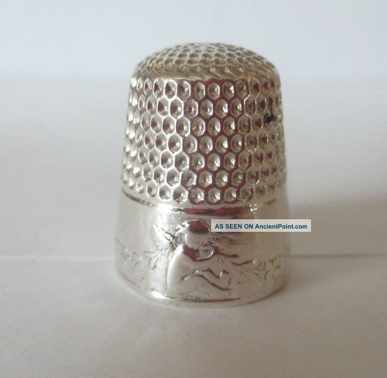 Antique Webster Sterling Silver Seated Cherub Thimble Size 8 Thimbles photo